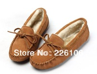 Winter Women's soft driving slip on Loafers lady genuine leather flat shoes casual creepers new 2013 brand mocasins with fur