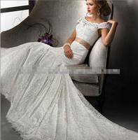 wholesale Mermaid Style Cap Sleeve Champagne Satin Waistband Chapel Train irish lace wedding dress mermaid