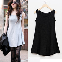 L~4XL!! 2013 Summer New Ladies Plus Size XXXXL All-match Cotton Casual Loose Sleeveless Basic Long Women Shirts Tops Blouses