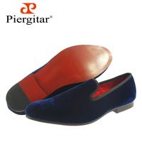 Navy Hot Selling Men Flats Plain Velvet Loafers Slippers 6-13