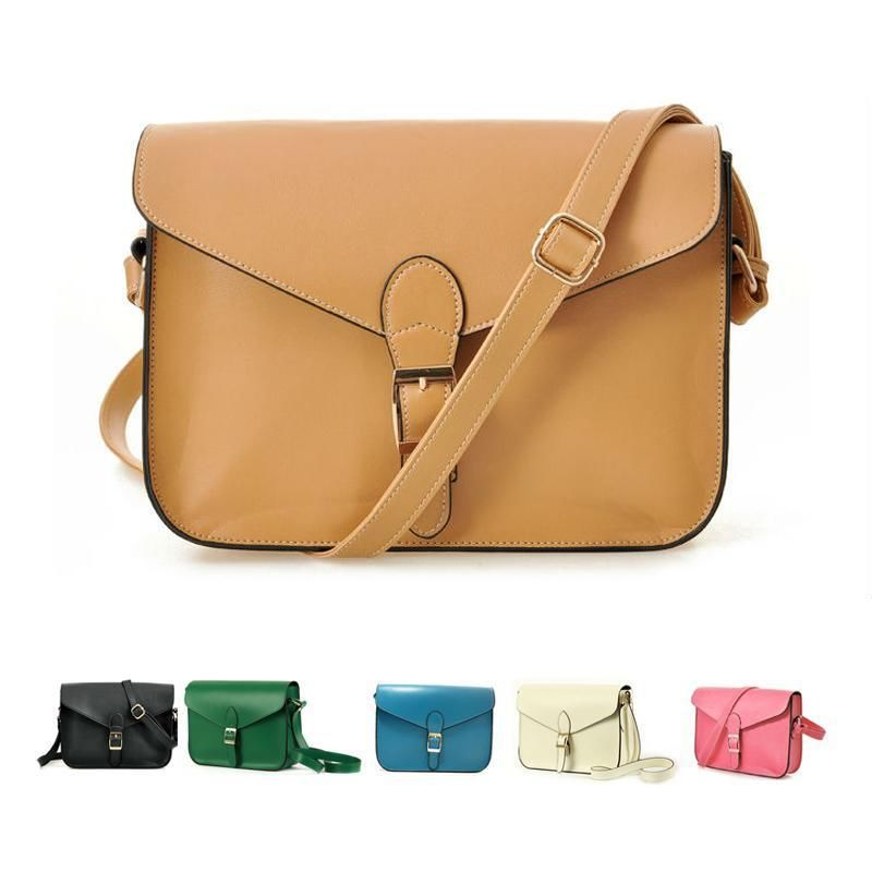 Vintage satchel women cross body leather handbag lady messenger Purse shoulder bag candy color mulher saco couro PU bolsa ombro(China (Mainland))