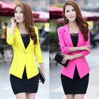 CC385# 4 Colors 2014 Autumn  Women Suit Blazer FOLDABLE  women Clothes Suit One Button Shawl Cardigan Coat