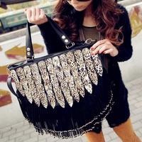 Free shipping 2013 spring&autumn casual fashionable women's handbag leopard print paillette bag one shoulder handbag