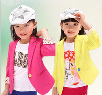 2014 new little girls baby children Outerwear kids jackets Coat spring autumn clothing candy color blazer fashion HOT child Suit
