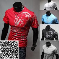Freeshipping,Hot Sale New 2014 Fashion Brand T Shirts for Men.Novelty Dragon Printing Tatoo Male O Neck T Shirts Men 's Brands.