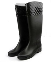 Check On Top Rainboots Female Fashion Anti-Water Riding Boots High Women's Shoes Rain Boots