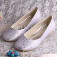 Dropship Custom Handmade Big Discount White Satin Rhinestone Women Ballet Bridal Wedding Shoes Big Size Free Shipping