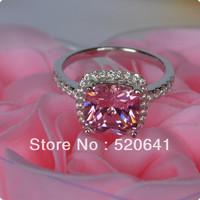 Xmas 3 Ct Cushion Shape Pink Wedding Engagement Classic  Princess Cut synthetic Diamond Halo Style SONA synthetic diamond ring