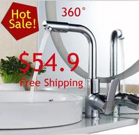 Free Shipping Brass Chrome Bathroom Basin Swivel  Mixer Sink Water Tap