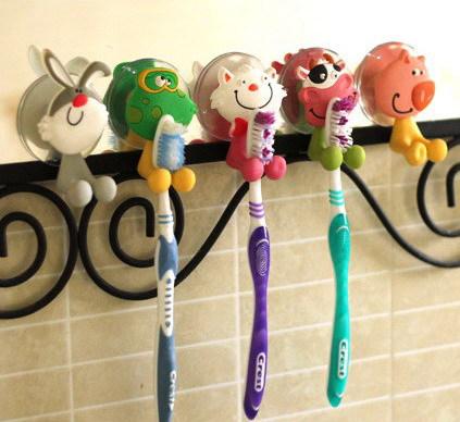 Free Shipping 5pcs/lot Cute Cartoon Animal Sucker Toothbrush holder / Suction hooks Hot Sale BJ-04(China (Mainland))