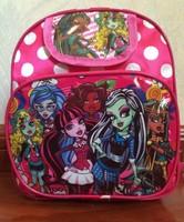 2014 Hot Selling ,children's backpack monster high peppa polka dot pink school bag for baby kids girls preschool bag free