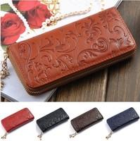 Hot Selling Genuine Leather Wallet Women Zipper Around Purse Flower pattern Lady Long Wallets Bags Handbags,ANS-OL-60017QN