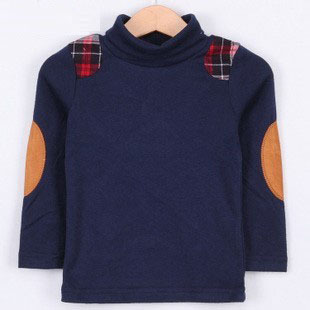 Free Shipping 2013 spring plaid preppy style boys clothing baby tx-1265 basic turtleneck shirt