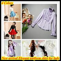 New 2014 Free shipping women elegant white fashion tuxedo camisa long-sleeved slim fit uniform shirts QR-2080