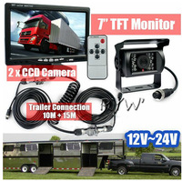 "DHL Shipping Full Truck Trailer Reversing Kit 7"" LCD Monitor Backup CCD Waterproof IR Camera 12-24V"