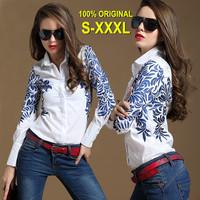OISK Runway Shirts Womens Camisa Branca 2014 New Ladies blouse Blue Porcelain Printed White Shirt Long Sleeves S/M/L/XL/XXL/XXXL