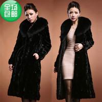Mink fur overcoat Women mink fur coat mink hair large fur collar  A free gift for you