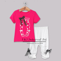 2014 New Design Girls Clothing Set 2 PCS Cotton T Shirt with Rhinestone and Pants Infant Clothes CS30828-1