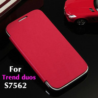 For Samsung Galaxy S Duos s7562 7562 Flip Leather Back Cover Cases Original Battery Housing Case + Screen Protector