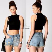 Women Ladies Solid Color High-elastic Sleeveless Vest High Collar Bodycon Crop Top T-shirt 17967