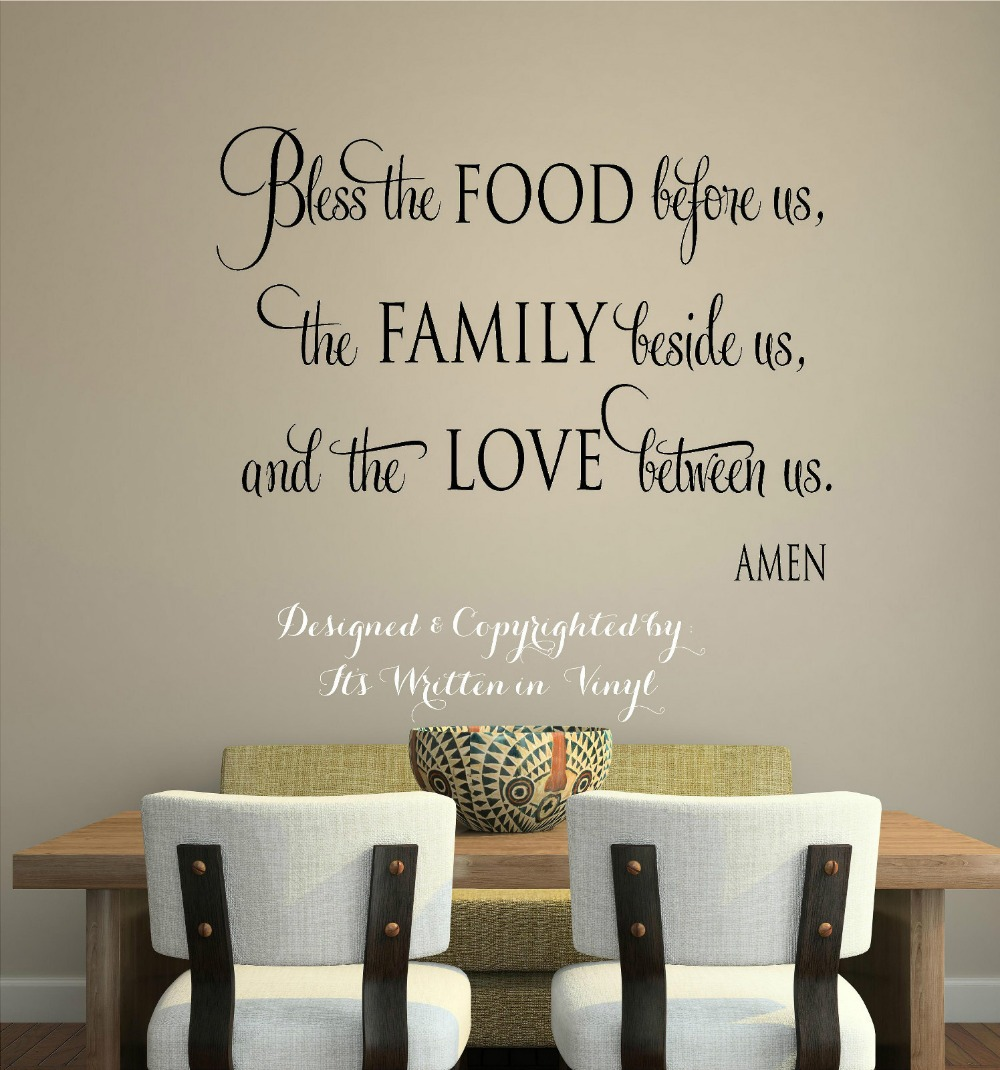 Bless the food vinyl lettering wall decal words home for Dining room wall quote decals