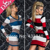 2013 autumn fashion Sexy colorful striped bag hip long sleeve  women dress