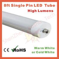 20pcs/lot 8ft led tube 2.4m LED tubes ,2400mm T8 led tube light single pin led tube lights Free shipping