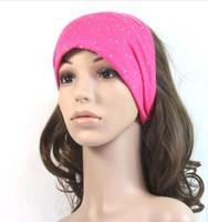New Fashion 20pcs Women Headbands Rhinestone Extra-wide (14cm wide) Elastic Stretch Yoga Sports Head bands Wraps Wholesale