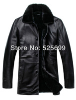 Australia's original ecological leather leather men's mink fur collar coat sheep skin fur Overcoat Lei&Yu