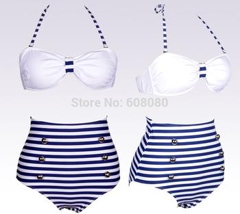 2014 Hot Vintage High Waist Bikini Set Retro Fringe Bandeau Swimwear Swimsuit Women Bathing Suits Biquini 1302