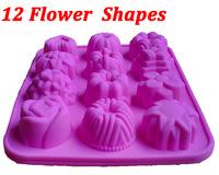 2014 Hot Sale Silicone Cake Mold Pan for Baking 12 Per Sheet Flowers Bakeware Fondant Cake Decorating Tools Wholesale 21*16*2cm