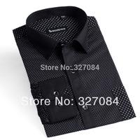 100% Cotton slim fit dress shirt 2015 new spring Polka Dot Casual Shirts For Men long sleeve Black ize xxxl Free Shipping YH01