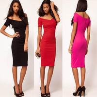 2015 sale summer Women V Neck short Sleeve Bodycon office business casual zipper Party Pencil bandage vintage women's Dress 378