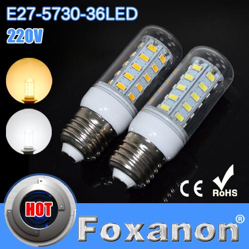 Foxanon Brand Led Light E27 5730 220V Corn Bulbs 5730SMD 36LEDs Ultra bright Lamps Max 12W Energy Efficient Lighting 5pcs/lot(China (Mainland))