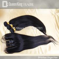 Cheap Hair Weft Brazilian Virgin Straight Hair Bundles 3 Bundles With 3 Part  Lace Closure Bleached Knots Hair Pieces