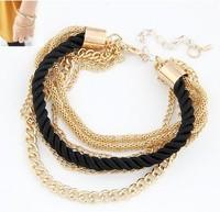 Fashion black luxury braided multilayer bracelet alloy bangle fashion jewelry