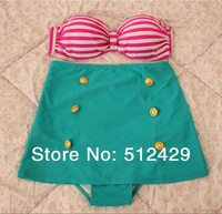 2014 Vintage High Waist  Bikini Set  Cutest Retro Swimsuit  Pin Up Stripes  Swimwear  Free Shipping