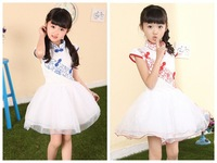 Free Shipping! New 2014 Chinese Style Blue and White Veil Dress Children Dress Children's Performances Dress 1225