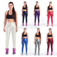Yomsong Womens Disco Pants American High Waist Glossy Pants New Apparel AA Pants Solid Fitness Sports Gym Yogo Women Leggings