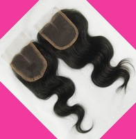 Cheap Lace Closure Middle Part /Free Style Bleached Knots Natural Color Brazilian Body Wave Virgin Hair 3.5*4 5A Grade