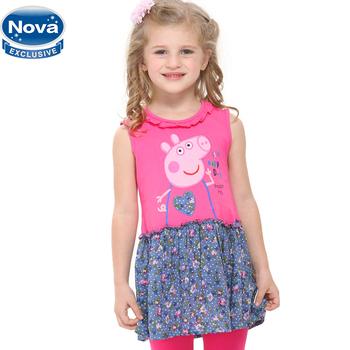 One Piece Retail! New Nova kids wear beautiful girl patchwork dress girl dress autumn-summer clothing Peppa pig fashion H4393#