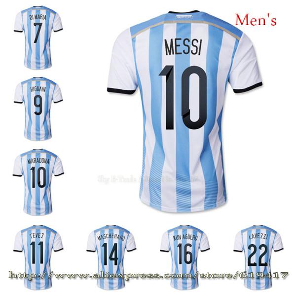 Argentina jersey MESSI soccer jersey Embroidery Logo football cup 2014 free customized TEVEZ KUN AGUERO soccer uniforms DI MARIA(China (Mainland))