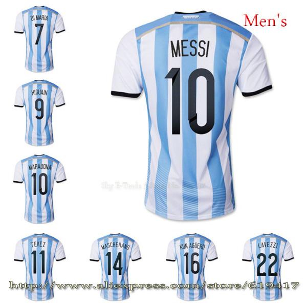Argentina jersey MESSI soccer jersey Embroidery Logo football cup 2014 free customized TEVEZ KUN AGUERO soccer uniforms DI MARIA(China (Mainland))