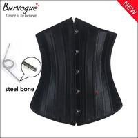 2014 body Shaper Woman Sexy Waist Training underbust Corsets & Bustiers Black Satin 24 Steel Bone corset Waist Cincher Corselet