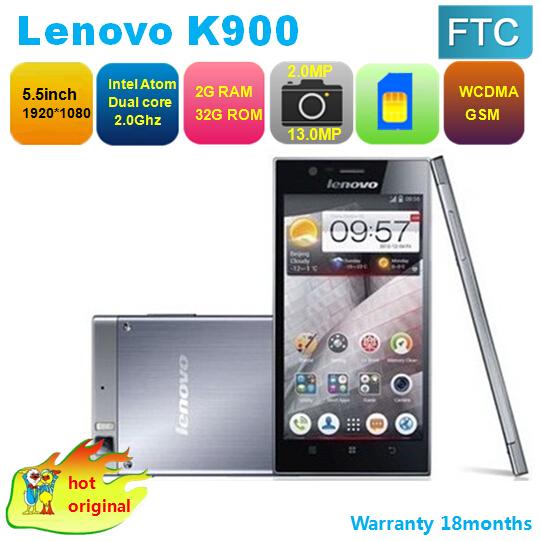 "Multi-language Original Lenovo K900 Smartphone Intel z2580 5.5"" FHD 1920x1080 pixels Android 4.2 2GB RAM 32GB Dual Camera 13.0MP(China (Mainland))"