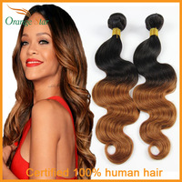 Brazilian Ombre Hair Extensions Body Wave 3 Bundles lot Two Tone Human Hair Weft Tissage Bresilienne Ombre Hair Weave MB301