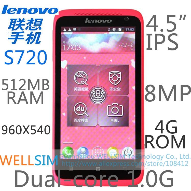 Original Lenovo S720 Multi language Mobile phone 4.5IPS 960x540 MTK6577 Dualcore1G 512MB RAM 4GROM Android4.0 8MP(China (Mainland))