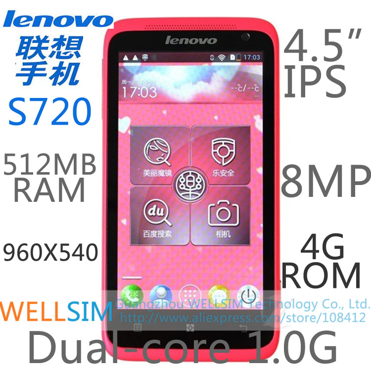 Original Lenovo S720 Multi language Mobile phone 4.5IPS 960x540 MTK6577 Dualcore1G 512MB RAM 4GROM Android4.0 8MP(China (Mainland))