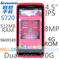 Original Lenovo S720 Multi language Mobile phone 4.5IPS 960x540 MTK6577 Dualcore1G 512MB RAM 4GROM  Android4.0 8MP