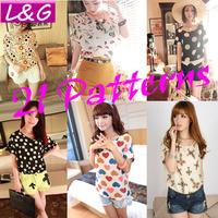 New 2015 Fashion Women Blouses Hot Selling Casual Flower Print Tropical Chiffon Blusas Autumn-Summer Plus Size Shirt Sale 40012